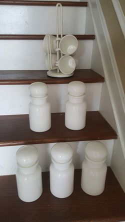 Set of 5 Belgian Canisters and 4 Thompson pottery mugs for Sale in Germantown,  MD
