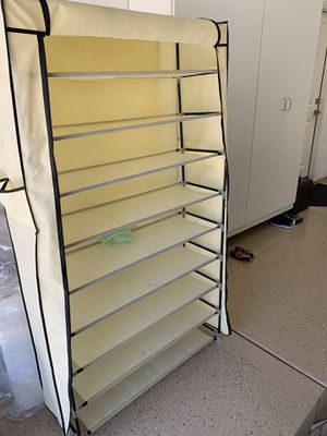 Shoe Rack with Dustproof Cover Closet Shoe Storage Cabinet Organizer Beige for Sale in Irvine, CA