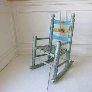"""Antique Vintage Rocking Chair Childrebs Kids Small Solid Wood Light Blue Hand Painted Great condition Measurements: 28"""" H x 16"""" W x 13"""" D for Sale in Cumming, GA"""