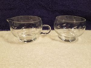 Princess house - etched crystal - sugar and cream cups - collectable vintage glass for Sale in Las Vegas, NV