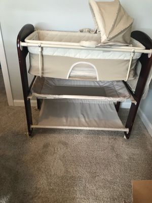 Bassinet changing table and storage unit w/ side compartment for Sale in Chicago, IL