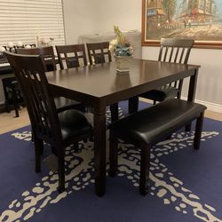 Farmhouse Kitchen Dining Table With Leather Bench And 5 Chairs Seats 5 6 7 8 for Sale in Peoria,  AZ