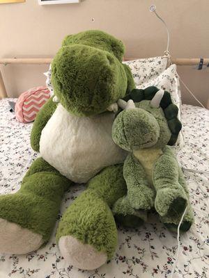 Stuffed animal dinosaur green x2 for Sale in Roseville, CA