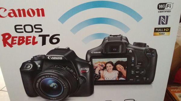 New Canon rebel T6 DSLR camera kit lense memory card case