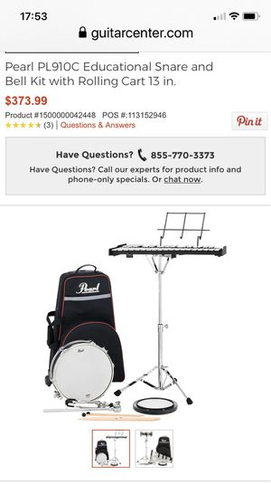 Pearl PL910C Educational Snare and Bell Kit with Rolling Cart for Sale in Nashville, NC