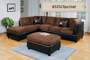 Chocolate/ Espresso Sectional with ottoman ( new ) for Sale in San Mateo, CA