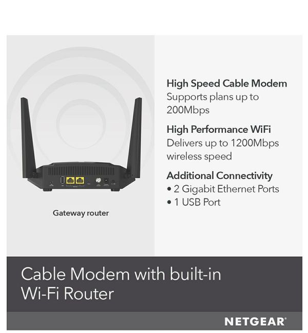 NETGEAR Cable Modem WiFi Router Combo C6220 - Compatible with all Cable Providers including Xfinity by Comcast  For Cable Plans Up to 200 Mbps