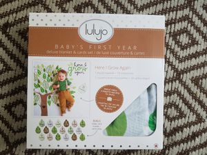 Lulujo Baby's First Year Milestone Muslin Blanket and Cards Set for Sale in Seattle, WA