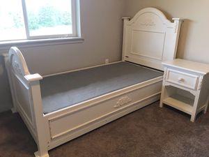Twin Bed, Boxspring & Nightstand-White, Headboard/Footboard, Wood for Sale in Ridgefield, WA