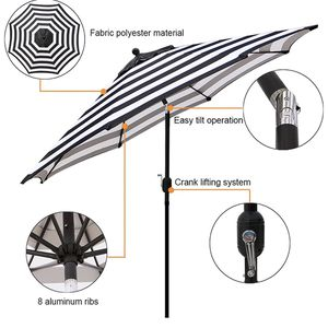 9' Outdoor Aluminum Patio Umbrella, Striped Patio Umbrella, Market Striped Umbrella with Push Button Tilt and Crank (Black & White Stripe) for Sale in Rancho Cucamonga, CA