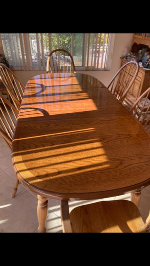Vintage wooden dining room table and chair set farmhouse table kitchen for Sale in San Diego, CA