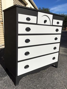 Vintage Solid Wood Highboy Black / Gray Dresser *See My Other Items* for Sale in Palm Beach Gardens, FL