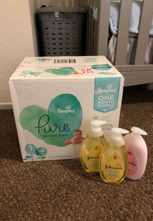Pampers pure size 1 3 j&j baby lotion and shampoo for Sale in Rialto, CA