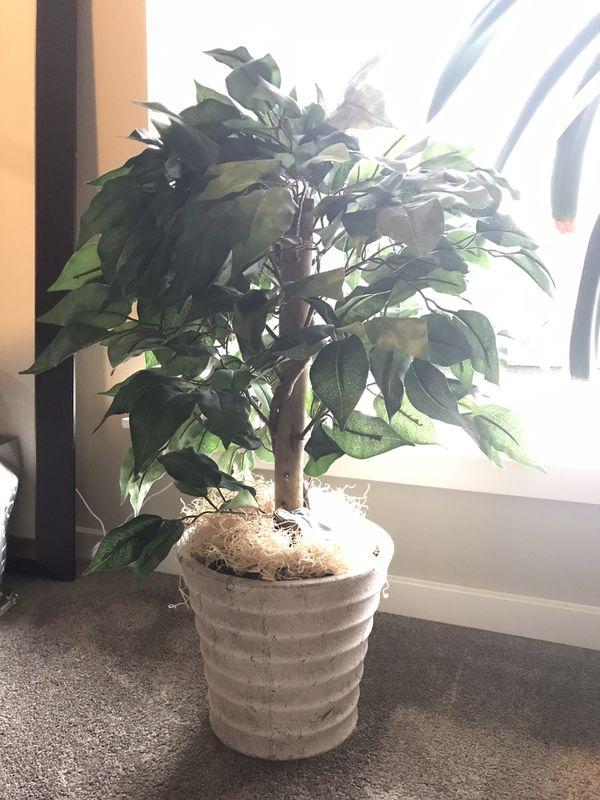 Faux plant with vase