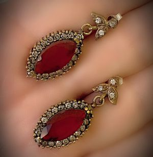PIGEONS BLOOD RUBY FINE ART DANGLE POST EARRINGS Solid 925 Sterling Silver/Gold WOW! Brilliant Facet Marquise Cut Gems, Diamond Topaz K5436 V for Sale in San Diego, CA