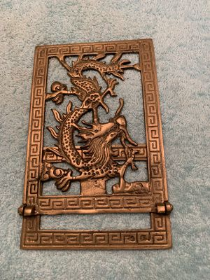 Vintage folding brass dragon bookend Only have one for Sale in Boca Raton, FL
