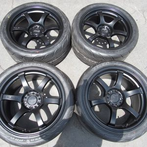 "18"" original rays wheels 18 inch semi gloss black rims rays wheels federal tires for Sale in Tustin, CA"
