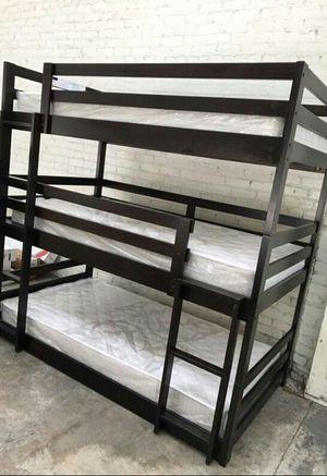 Twin size Triple Bunk bed 3 FREE MATTRESS for Sale in Las Vegas, NV