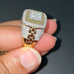 Mens Bling Ring Iced out 14k Gold Finish Pinky Ring size 7 and 8 available for Sale in Inglewood, CA