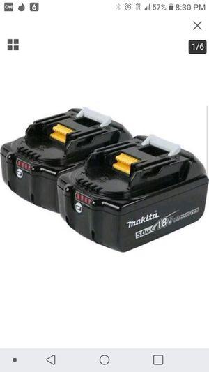 2) makita 5.0 Ah batteries for Sale in San Jose, CA
