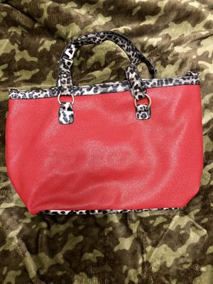 EUC large red handbag with a white handle for Sale in Pamplin, VA