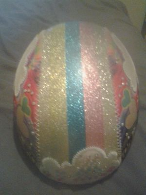 Little girl bicycle helmet colorful decorated shimmery hearts helmet for Sale in Dallas, TX