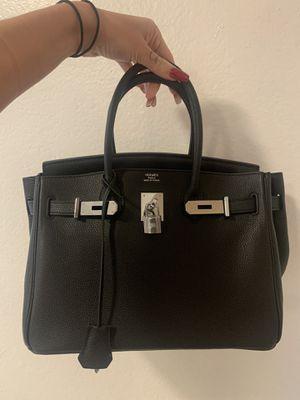 Hermès lambskin 30 cm black Birkin palladium hardware for Sale in Los Angeles, CA