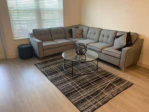 Sectional Couch and Glass Coffee Table for Sale in Gibsonton, FL