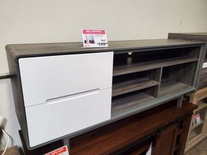 Tv Stand with 2 Drawers, Distressed Grey & White, #172169 for Sale in Santa Fe Springs, CA