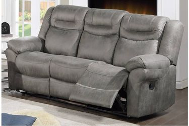 GRAY SLATE BREATHABLE LEATHERETTE SOFA COUCH POWER RECLINER USB CHARGER - SILLON RECLINABLE for Sale in San Diego,  CA
