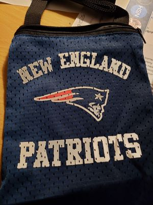 New NFL New England Patriots Jersey material Zipper pouch w shoulder strap for Sale in San Antonio, TX