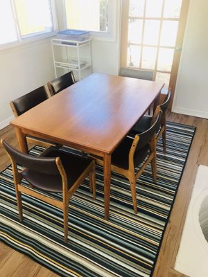 Danish Teak Dining Table by Henning Kaerjnulf for Vejle Stole. 6 Dining chairs by Johannes Anderson. SUPER RARE COMBO. Mid Century Modern for Sale in Kensington, MD