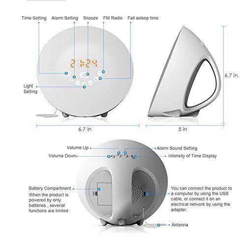 Sunrise Alarm Clock, Digital LED Wake Up Light Clock by Vodool - 7 Color Switchs