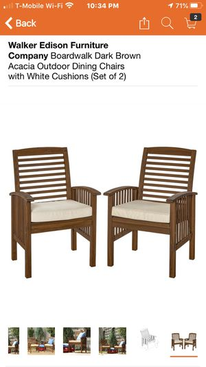 Walker Edison Furniture Company Boardwalk Dark Brown Acacia Outdoor Dining Chairs with White Cushions (Set of 2) reduce price now only $200 no tax re for Sale in Hesperia, CA