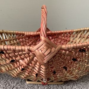 Vintage Bamboo Wicker Rattan Boho Pink Fruit Plant Flower Planter Vase Basket With Handle Home Decoration Accent for Sale in Chapel Hill, NC