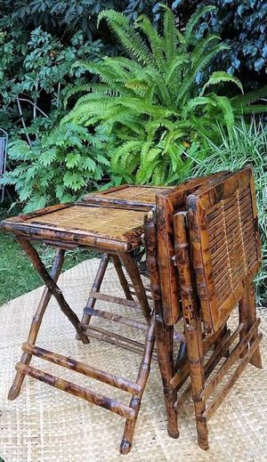 Tortoise Bamboo Folding Tables Vintage for Sale in San Diego, CA