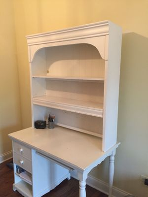 Solid White wood Bookcase only (desk not included) to place on top of a desk. Bookcase is 4ft tall by 3 ft 9in wide. for Sale in Hinsdale, IL