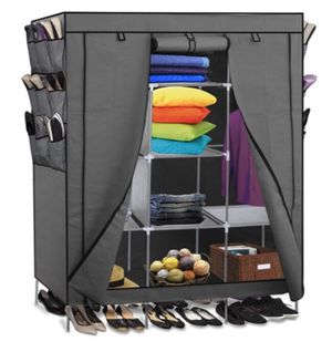 NEW $28 Closet Organizer Storage Rack Portable Clothes w/ Side Shoe Bag Grey for Sale in Ontario, CA