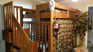Solid wood (oak) FULL size loft bed for Sale in Forsyth, GA