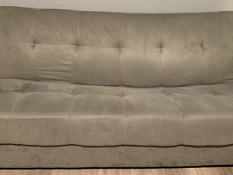 Faux Grey Suede Futon/Couch/Sofa for Sale in Waukegan,  IL
