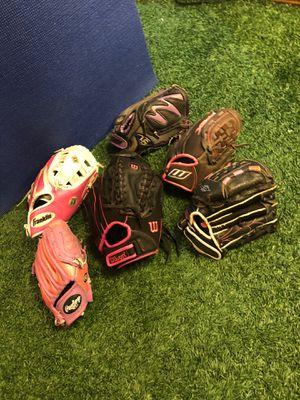 Softball/Fastpitch gloves Wilson, Rawlings, Franklin, Louisville Slugger, worth for Sale in Houston, TX