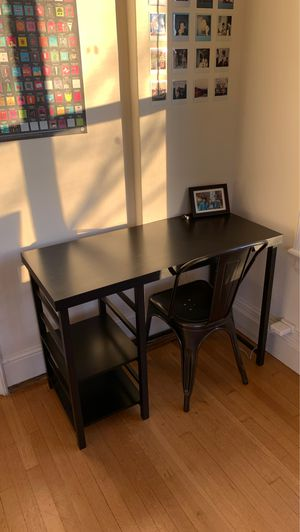 Target black wooden desk new + metal chair for Sale in Seattle, WA