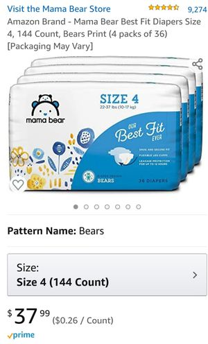 Mama Bear Diapers Size 4 for Sale in Moreno Valley, CA