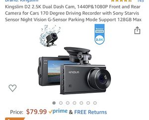 Kingslim D2 2.5K Dual Dash Cam, 1440P&1080P Front and Rear Camera for Cars 170 Degree Driving Recorder with Sony Starvis Sensor Night Vision G-Sensor for Sale in Lilburn, GA