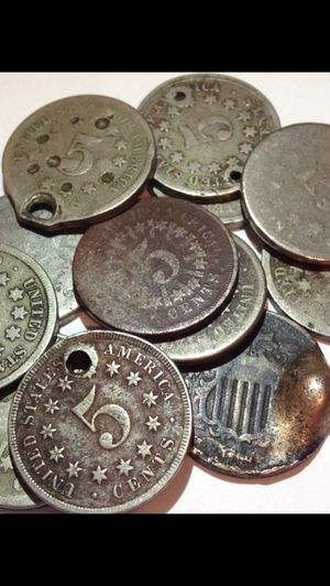 5 Rare 1866-1883 Shield Nickels- Much Harder To Find Than Liberty/Buffalo- Some W/ Strong Details, But Cull Grade for Sale in Washington, DC
