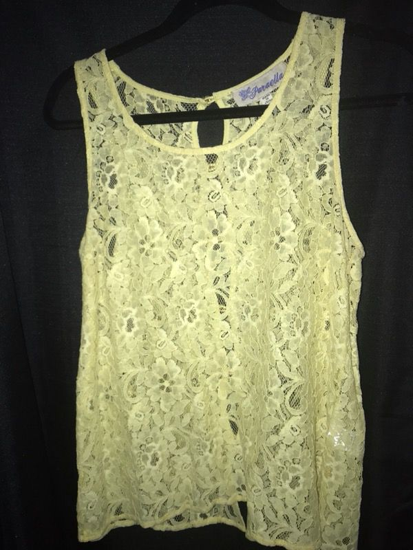 Yellow Lace Shirt w/ pearl buttons down back