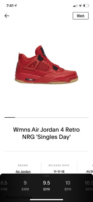 Women's size 9.5 Air Jordan 4 Retro NRG 'Singles day' for Sale in SeaTac, WA