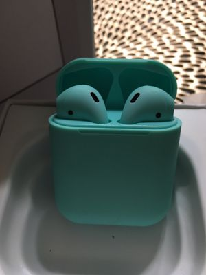 Mint Green Teal Bluetooth wireless headphones Airpods for iPhone/Android for Sale in Phoenix, AZ