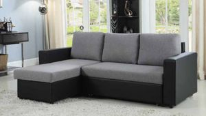 FREE DELIVERY $50 DOWN Grey black leather sleeper sofa sectional for Sale in Miami, FL
