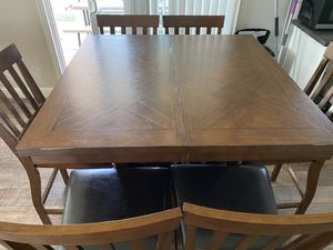 Bar height table w/extension and 6 chairs in great condition for Sale in West Linda, CA